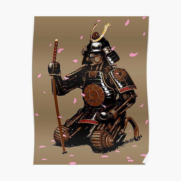 Clockwork Samurai-Cherry Blossoms Poster