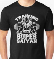 Training to go Super Saiyan anime gym workout lifting weights T-Shirt