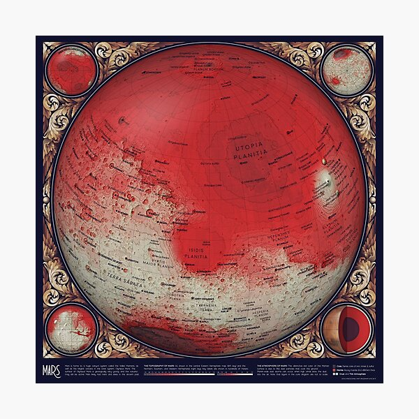 A Map of Mars Photographic Print