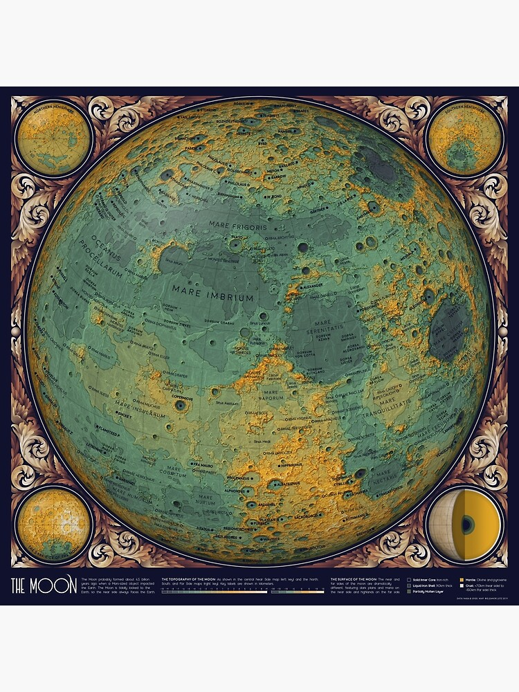 A Topographic Map of the Moon by EleanorLutz