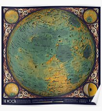 A Topographic Map of the Moon Poster