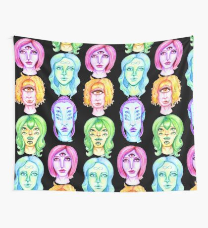 Rainbow of Beautiful Monsters Wall Tapestry