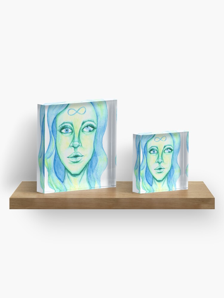 Alternate view of Blue Hair, Green Skin Acrylic Block