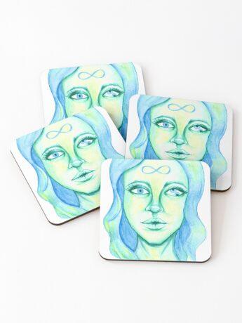 Blue Hair, Green Skin Coasters
