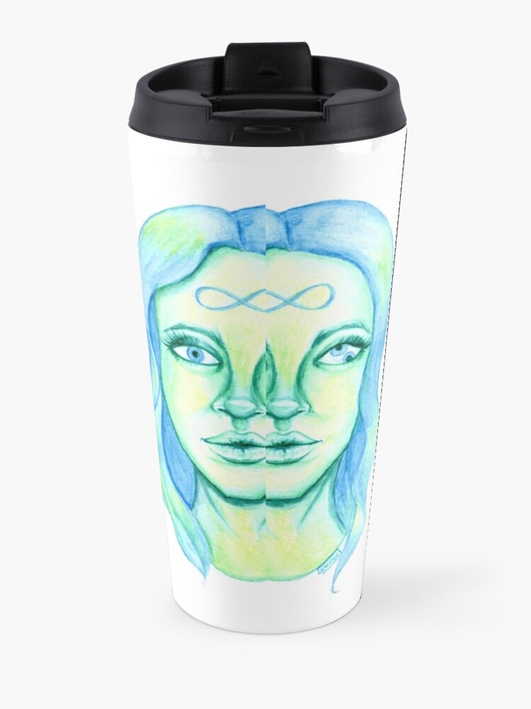 Alternate view of Blue Hair, Green Skin Travel Mug