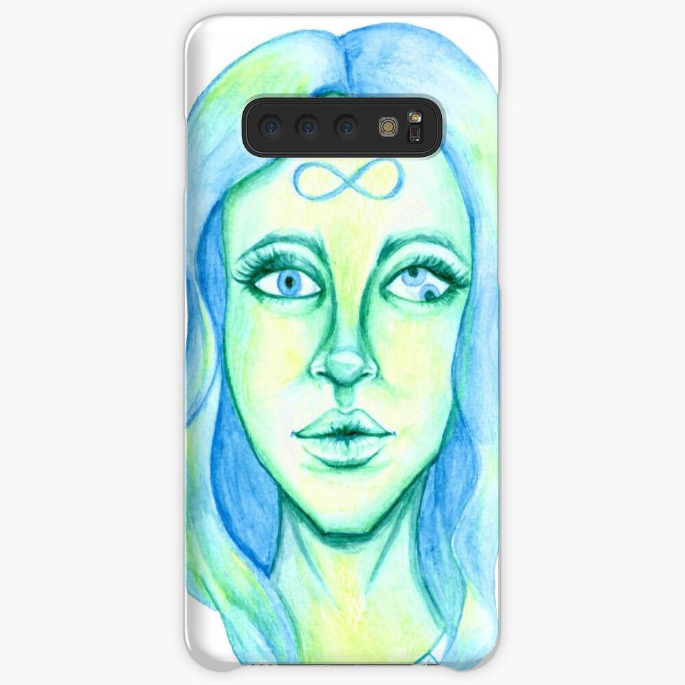 Blue Hair, Green Skin Case & Skin for Samsung Galaxy