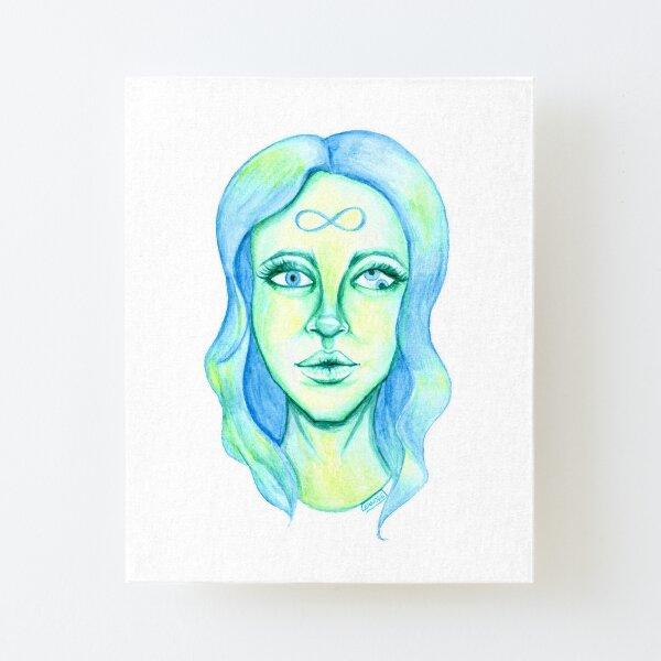 Blue Hair, Green Skin Canvas Mounted Print