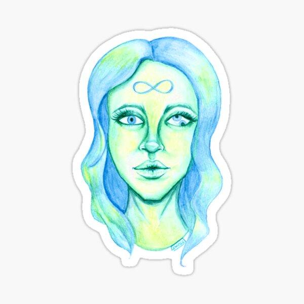 Blue Hair, Green Skin Sticker