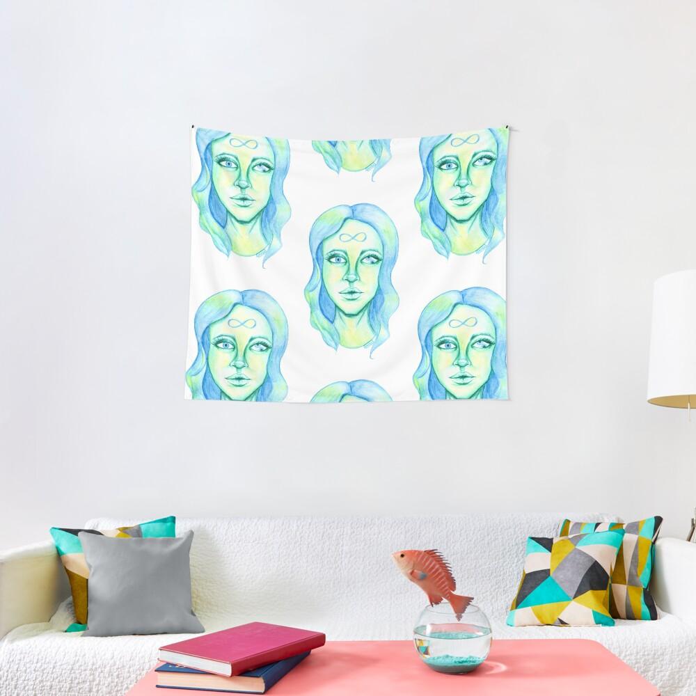 Blue Hair, Green Skin Tapestry