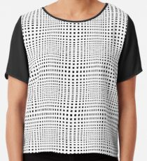 #Grid, #Net, #Pattern, #Design, metallic, steel, abstract, aluminum, tile, lattice, black and white, Monochrome Chiffon Top