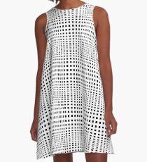 #Grid, #Net, #Pattern, #Design, metallic, steel, abstract, aluminum, tile, lattice, black and white, Monochrome A-Line Dress