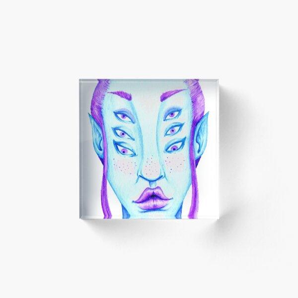 Purple Hair, Blue Skin Acrylic Block