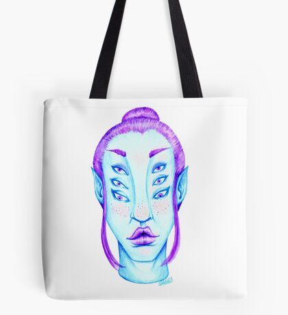 Purple Hair, Blue Skin Tote Bag