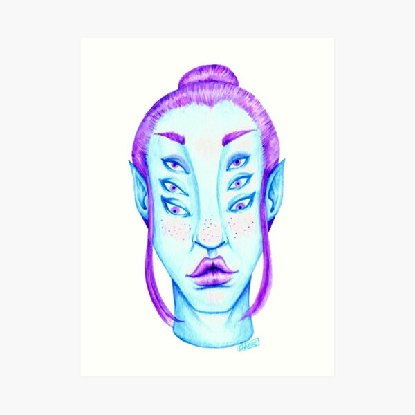 Purple Hair, Blue Skin Art Print