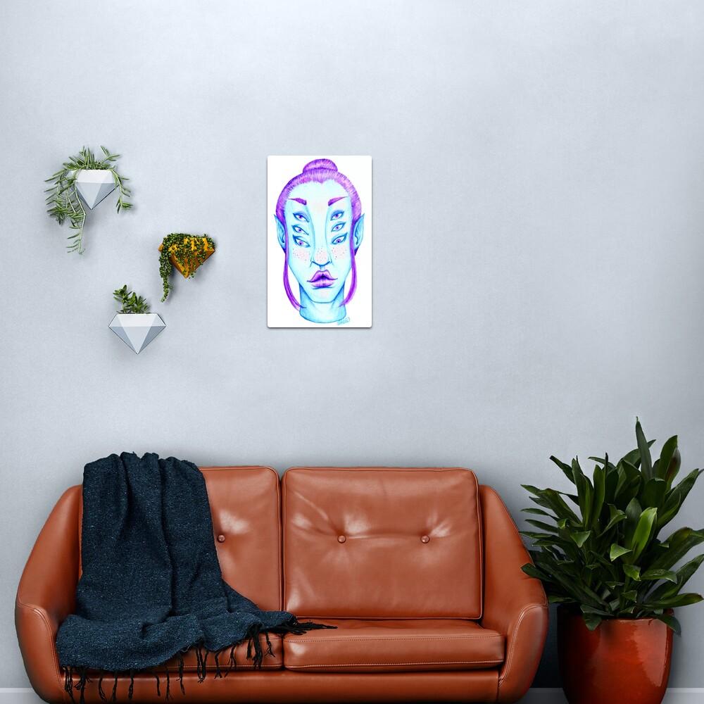 Purple Hair, Blue Skin Metal Print