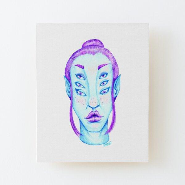 Purple Hair, Blue Skin Wood Mounted Print