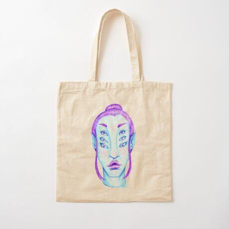 Purple Hair, Blue Skin Cotton Tote Bag