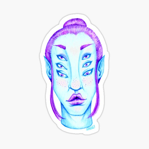 Purple Hair, Blue Skin Sticker