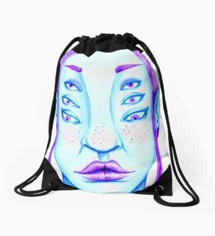 Purple Hair, Blue Skin Drawstring Bag