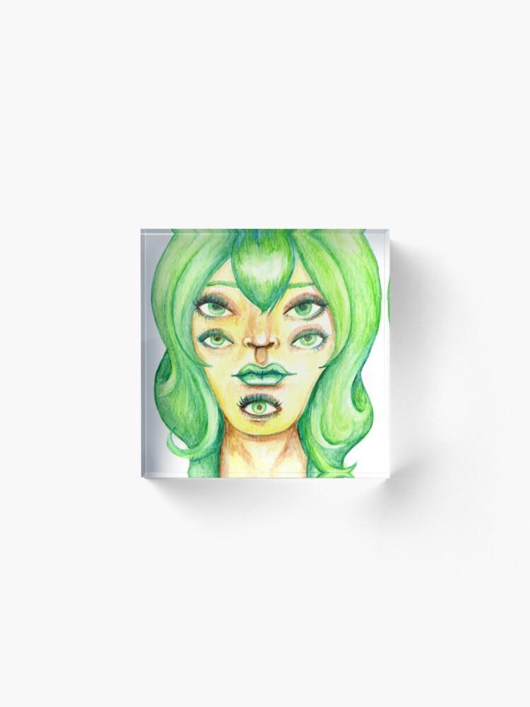 Alternate view of Green Hair, Golden Skin Acrylic Block