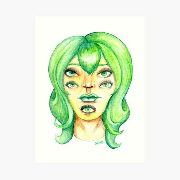 Green Hair, Golden Skin Art Print