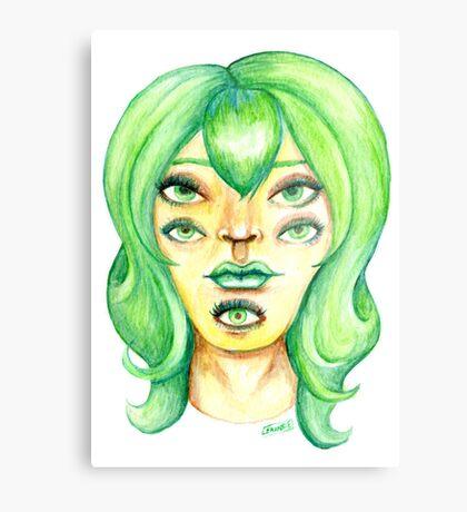 Green Hair, Golden Skin Metal Print