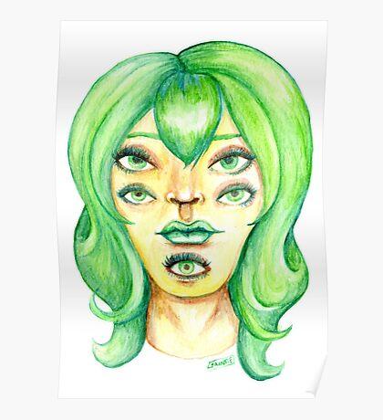 Green Hair, Golden Skin Poster