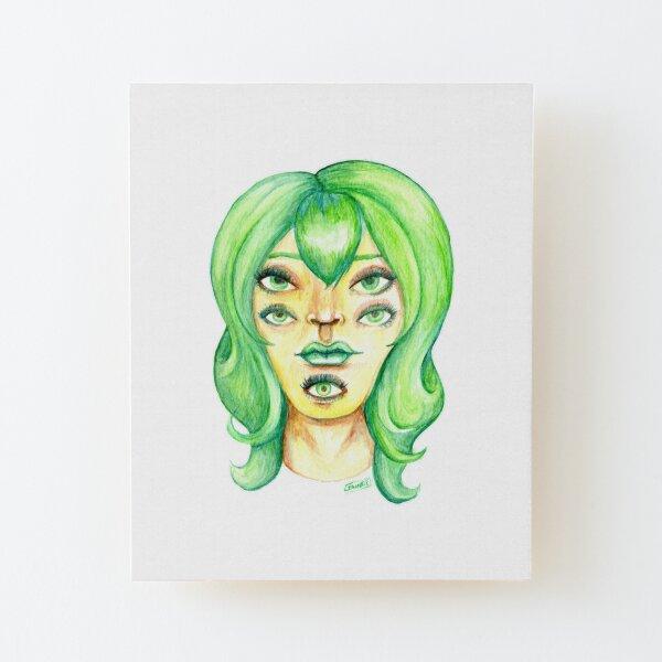 Green Hair, Golden Skin Wood Mounted Print