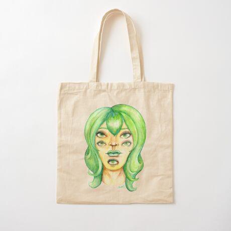 Green Hair, Golden Skin Cotton Tote Bag