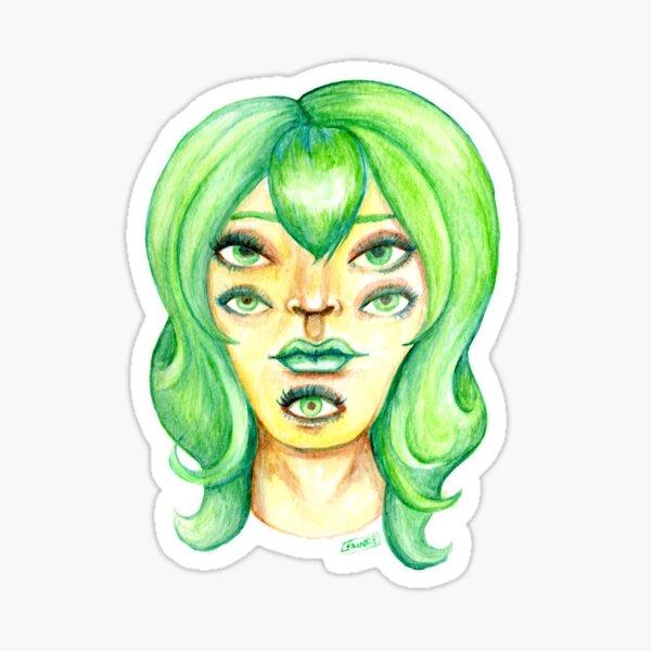 Green Hair, Golden Skin Sticker