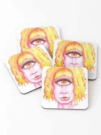 Golden Hair, Pink Skin Coasters