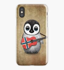 Baby Penguin Playing Norwegian Flag Guitar iPhone Case