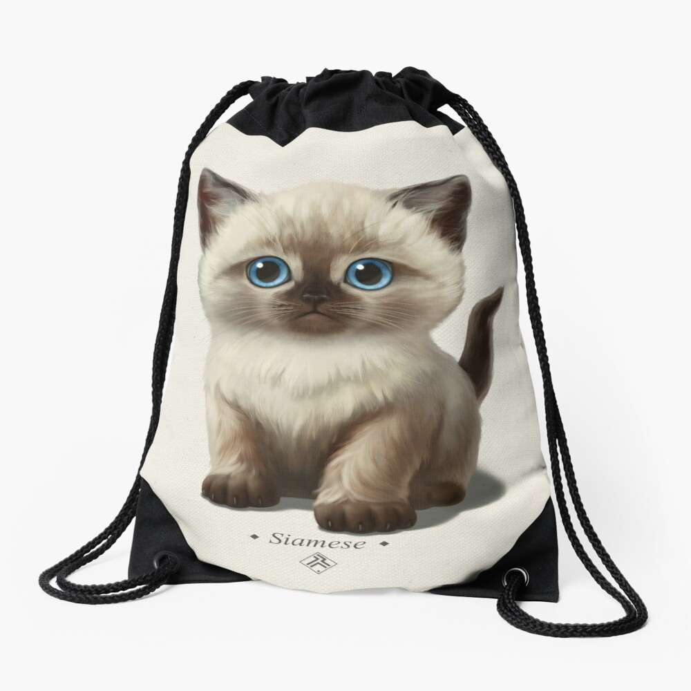Cataclysm- Siamese Kitten Classic Drawstring Bag