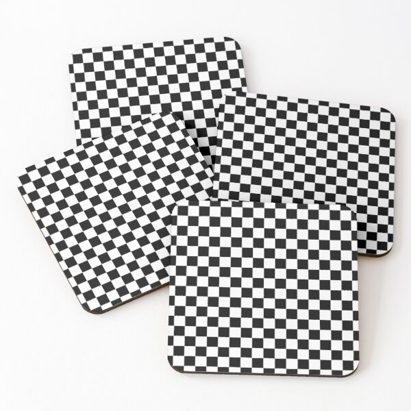 Black and White Checkerboard Coasters (Set of 4)