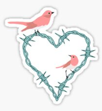 Barbed Wire Heart Birds Sticker