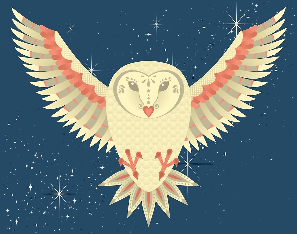 Flying Barn Owl by pounddesigns