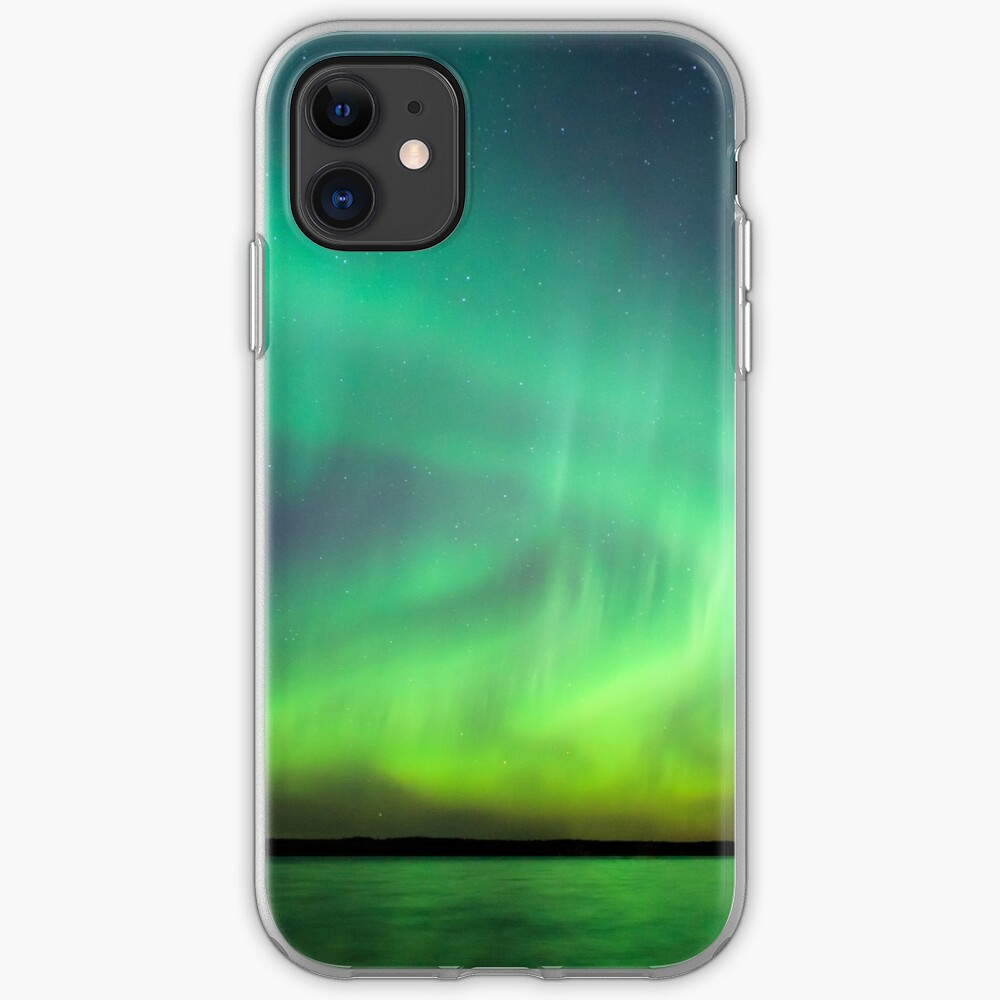 Northern lights over lake in Finland iPhone Case & Cover