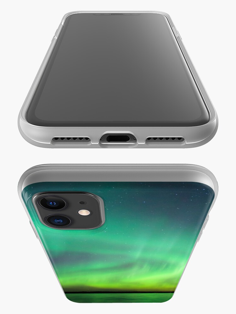 Alternate view of Northern lights over lake in Finland iPhone Case & Cover
