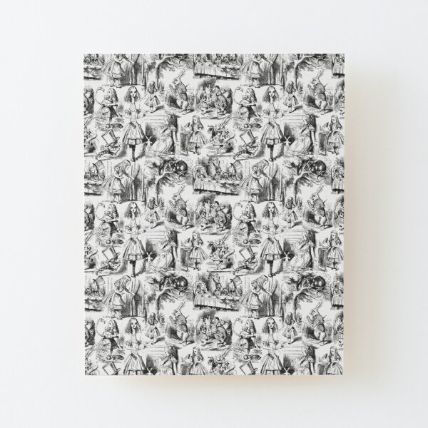 Alice in Wonderland | Toile de Jouy | Toile Pattern | Black and White | Vintage Alice | Wood Mounted Print