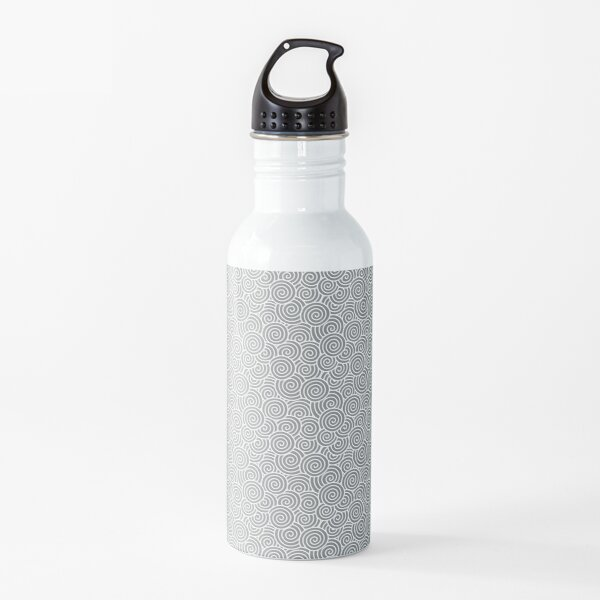 Chinese Spiral Pattern | Swirls | Grey and White |  Water Bottle