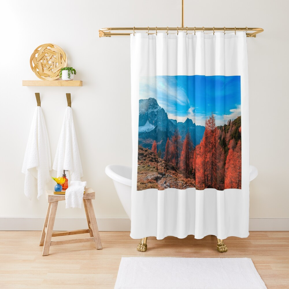 Cloudy autumn day in the italian alps Shower Curtain