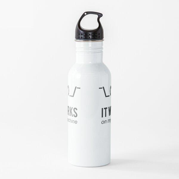 Shrug It Works On My Machine Funny Programmer Excuse Black Design Water Bottle