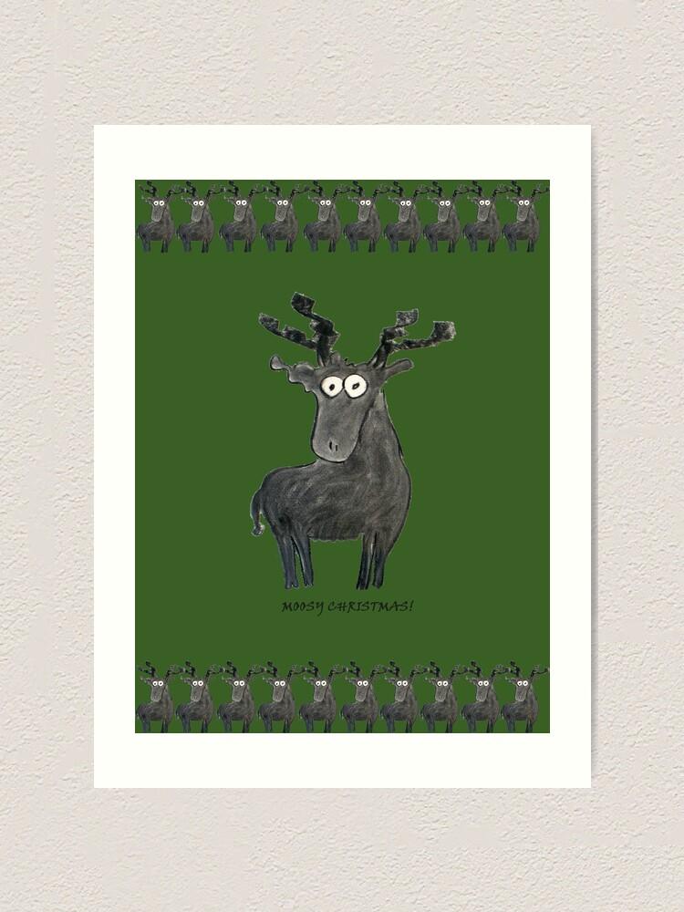 Alternate view of Moosy Christmas Art Print