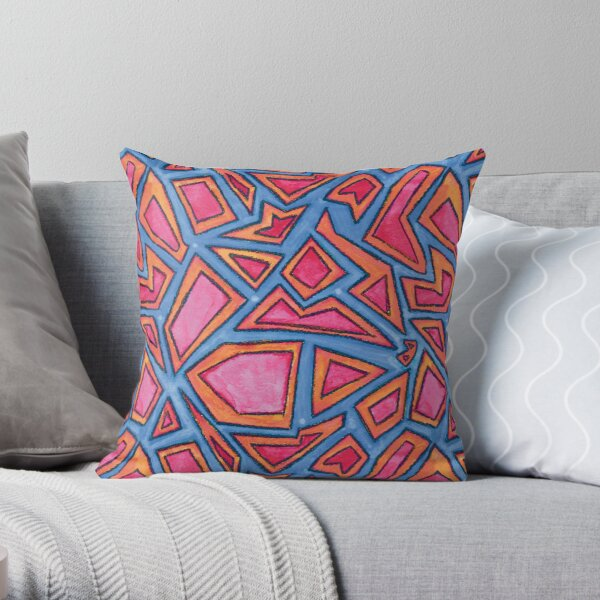 Graphic Shapes Bright Pattern Throw Pillow