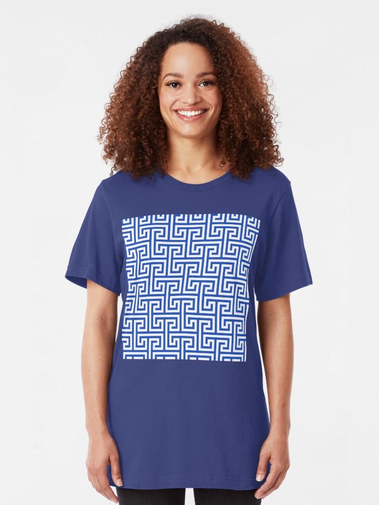 Alternate view of Geometric Pattern: Key Bridge Interlock Positive: Blue Slim Fit T-Shirt