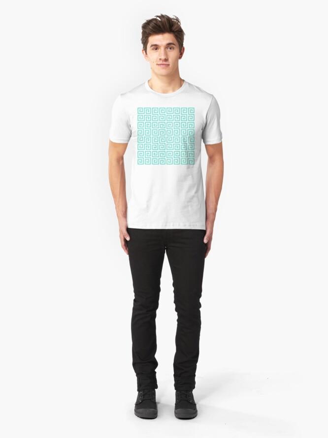 Alternate view of Geometric Pattern: Key Serpentine: Blue Slim Fit T-Shirt