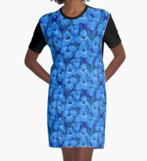 Puya Flowers Botanical Floral Pattern, Cornflower Blue   Graphic T-Shirt Dress