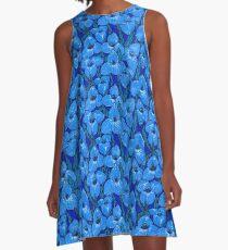 Puya Flowers Botanical Floral Pattern, Cornflower Blue   A-Line Dress