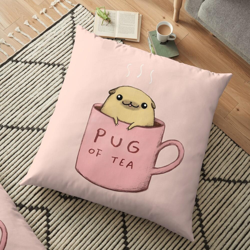 Pug of Tea Floor Pillow