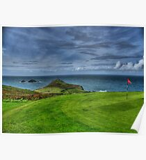 1st Green at Cape Cornwall Golf Club Poster